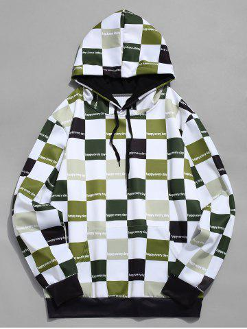 Contrast Color Checkered Print Drawstring Hoodie