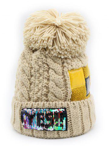 Letter Pattern Fuzzy Ball Knitted Beanie