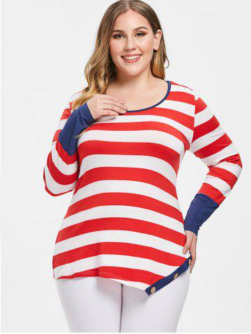 Plus Size Scoop Neck Stripe Buttons Long Sleeves Tee