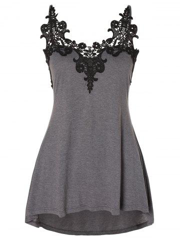 Plus Size Lace Panel High Low Swing Tank Top