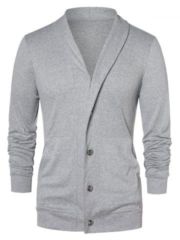 Button Up Shawl Collar Cardigan