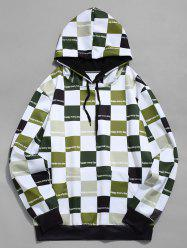 Contrast Color Checkered Print Drawstring Hoodie -