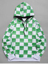 Contrast Color Checked Print Drawstring Hoodie -