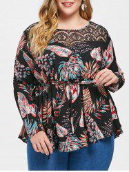 Plus Size Drawstring Lace Insert Tropical Blouse -