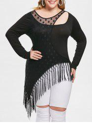 Plus Size Cut Out Fringed Asymmetrical T-shirt -