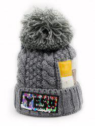 Letter Pattern Fuzzy Ball Knitted Beanie -