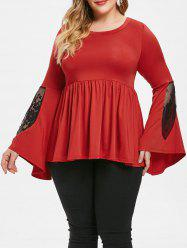 Plus Size Lace Insert Two Tone Peplum Top -