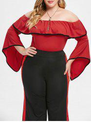 Plus Size Offf Shoulder Top with Flounce -