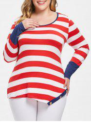 Plus Size Scoop Neck Stripe Buttons Long Sleeves Tee -