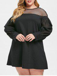 Plus Size Puff Sleeve Fishnet Panel Mini Dress -