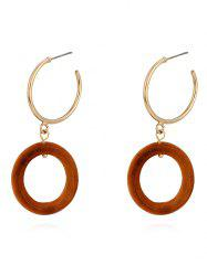 Wood Ring Metal Ring Stud Earrings -