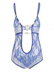 Strappy Backless Plunge Lace Teddy -