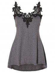 Plus Size Lace Panel High Low Swing Tank Top -