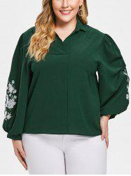 Turn Down Collar Plus Size Floral Embroidery Shirt -