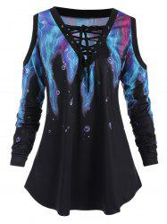 Lace Up Printed Plus Size T-shirt -