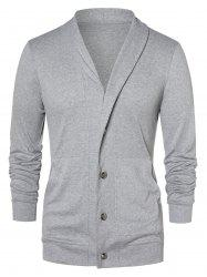 Button Up Shawl Collar Cardigan -