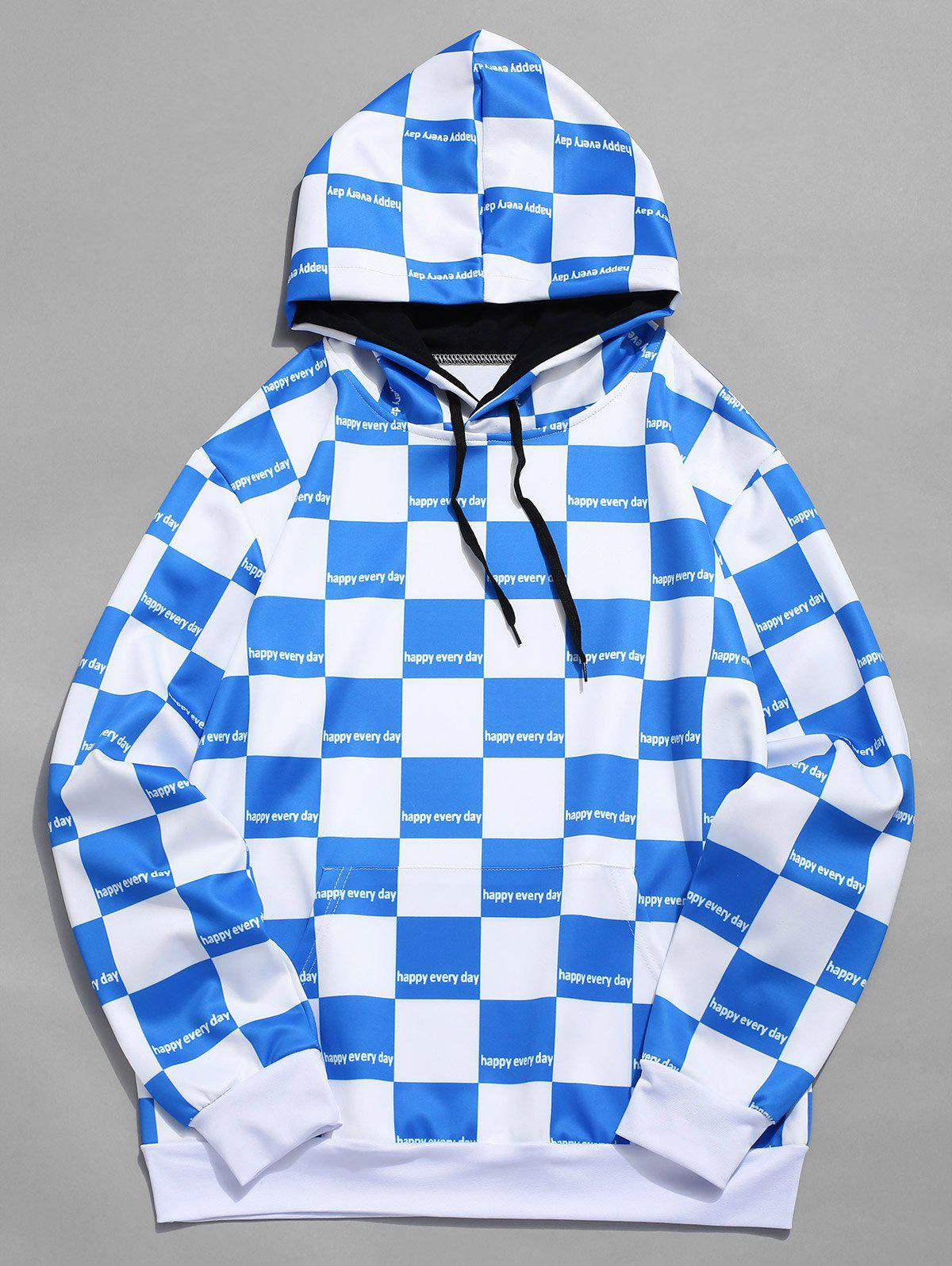 Trendy Contrast Color Checked Print Drawstring Hoodie