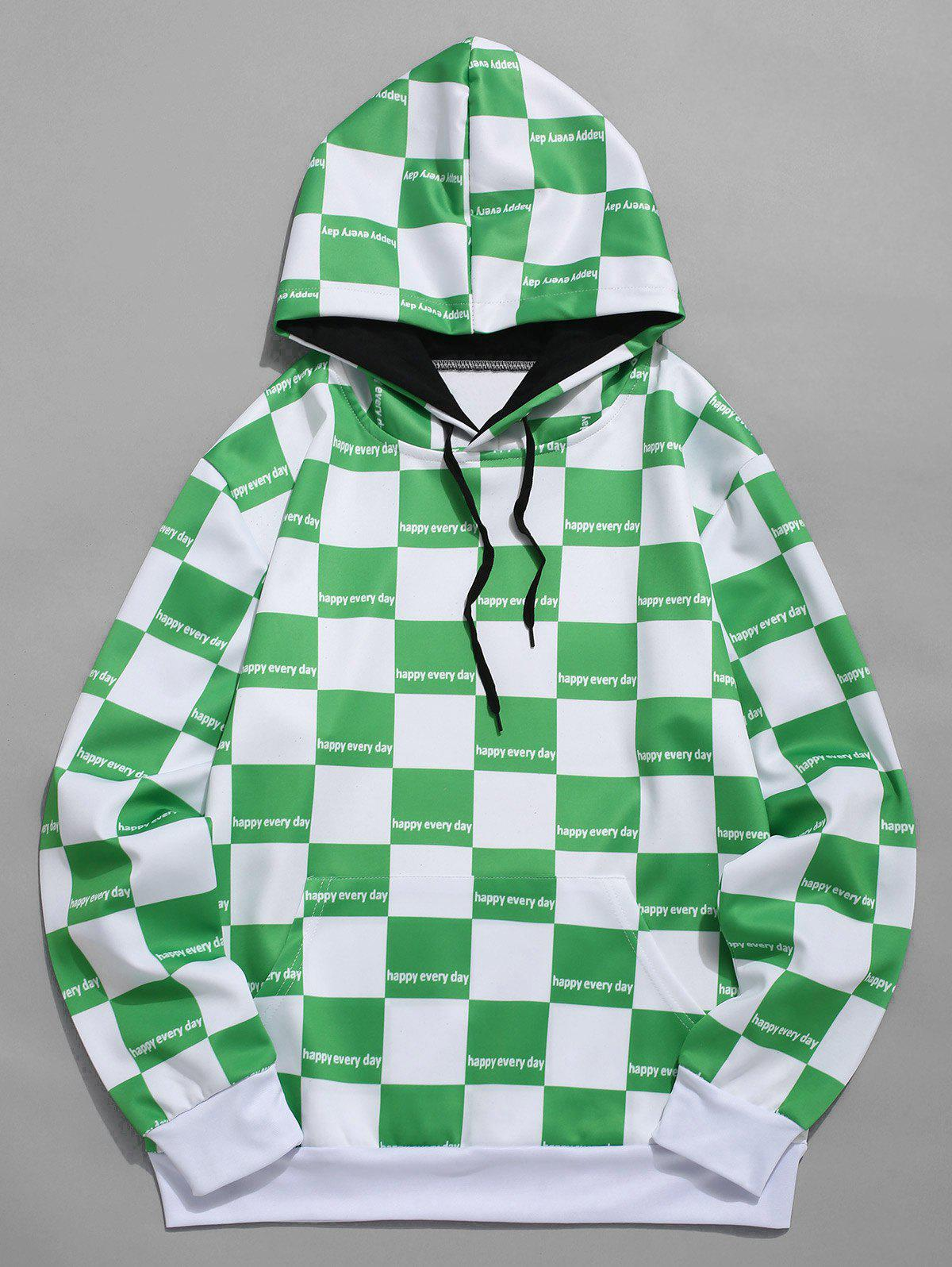 Outfit Contrast Color Checked Print Drawstring Hoodie
