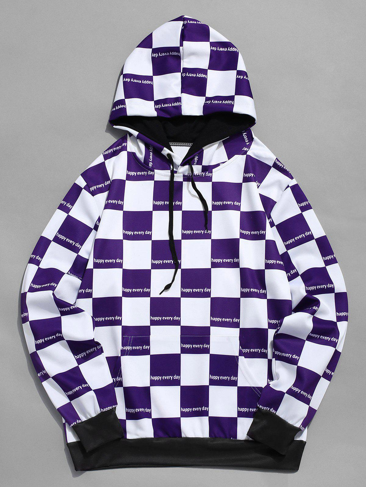 Affordable Contrast Color Checked Print Drawstring Hoodie