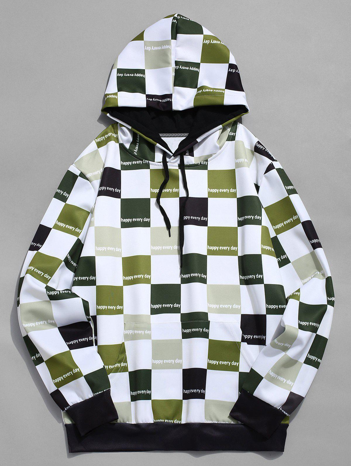 Outfits Contrast Color Checkered Print Drawstring Hoodie