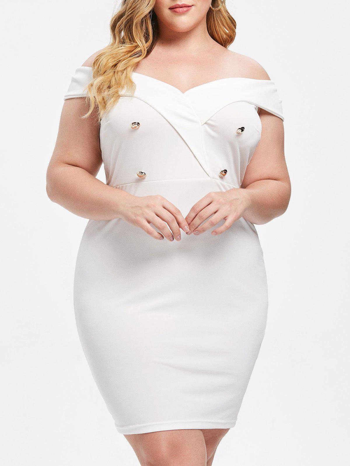 f46b8782c0a 72% OFF] Plus Size Off Shoulder Bodycon Dress | Rosegal
