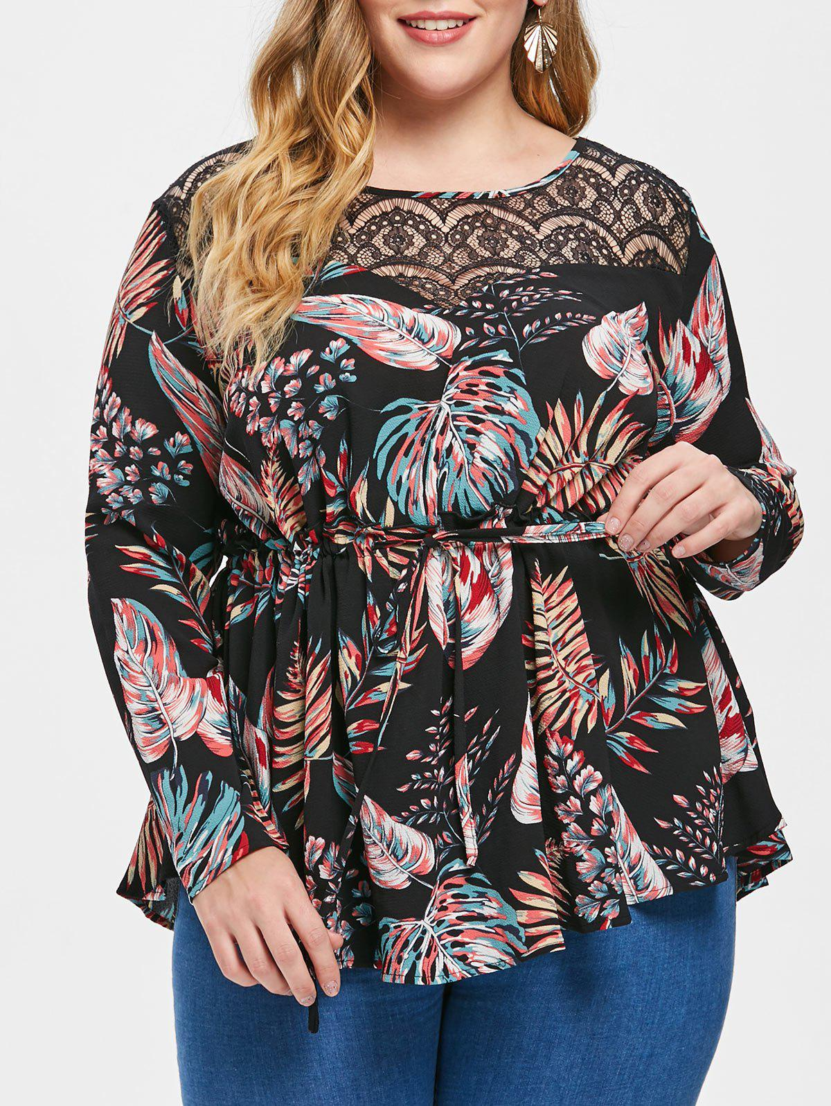Latest Plus Size Drawstring Lace Insert Tropical Blouse