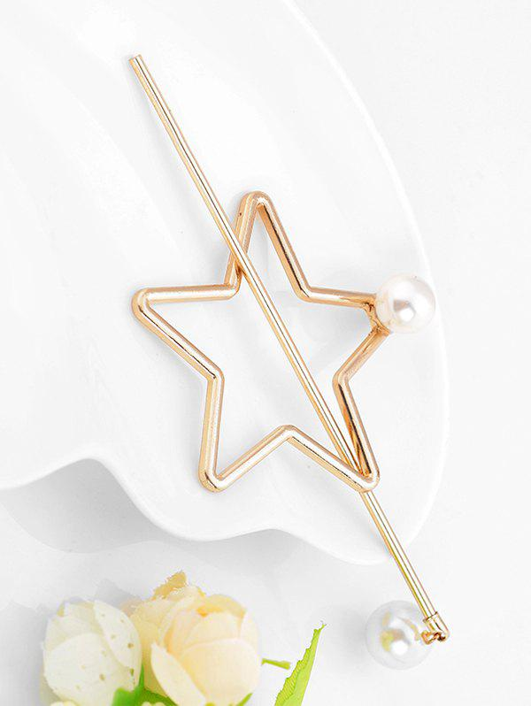 Discount Stylish Faux Pearl Star Shape Hairpin