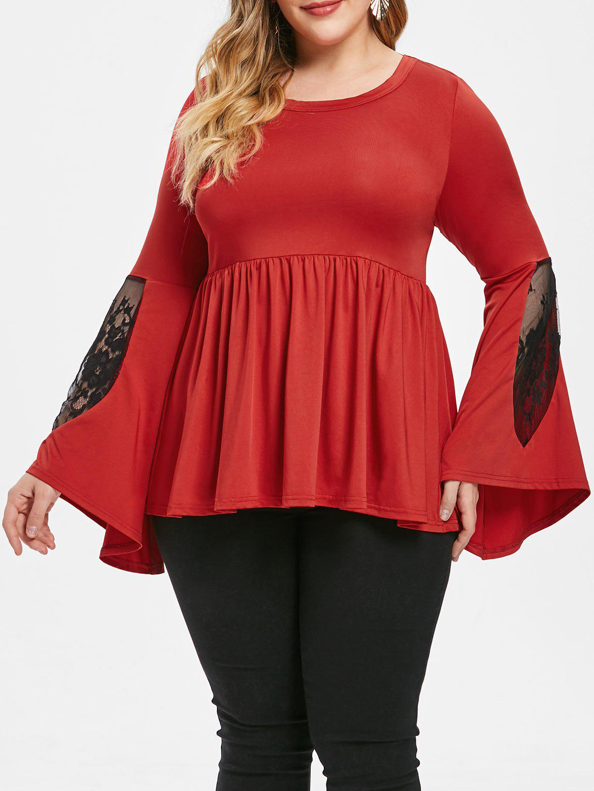 Chic Plus Size Lace Insert Two Tone Peplum Top