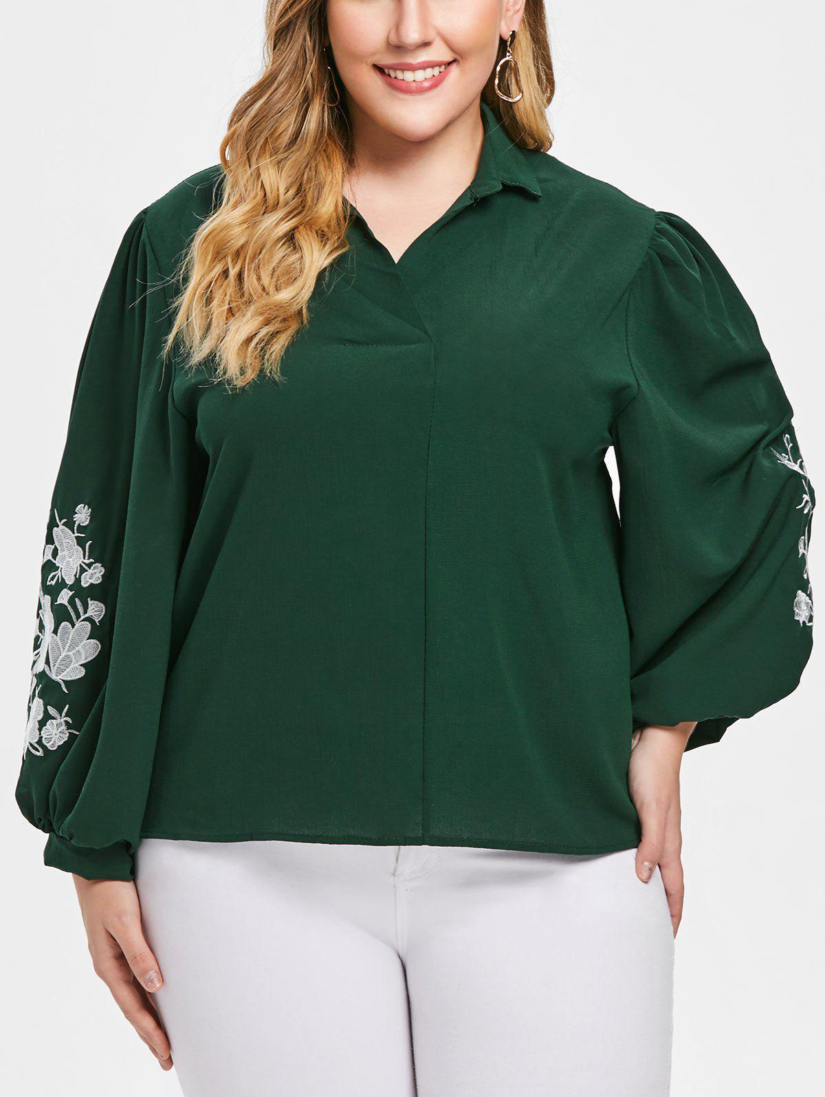 Shops Turn Down Collar Plus Size Floral Embroidery Shirt