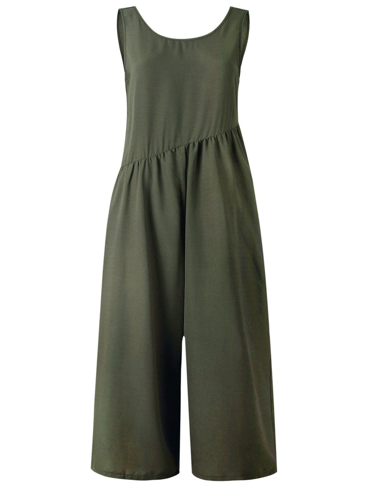 Sale Sleeveless V Shape Back Wide Leg Jumpsuit