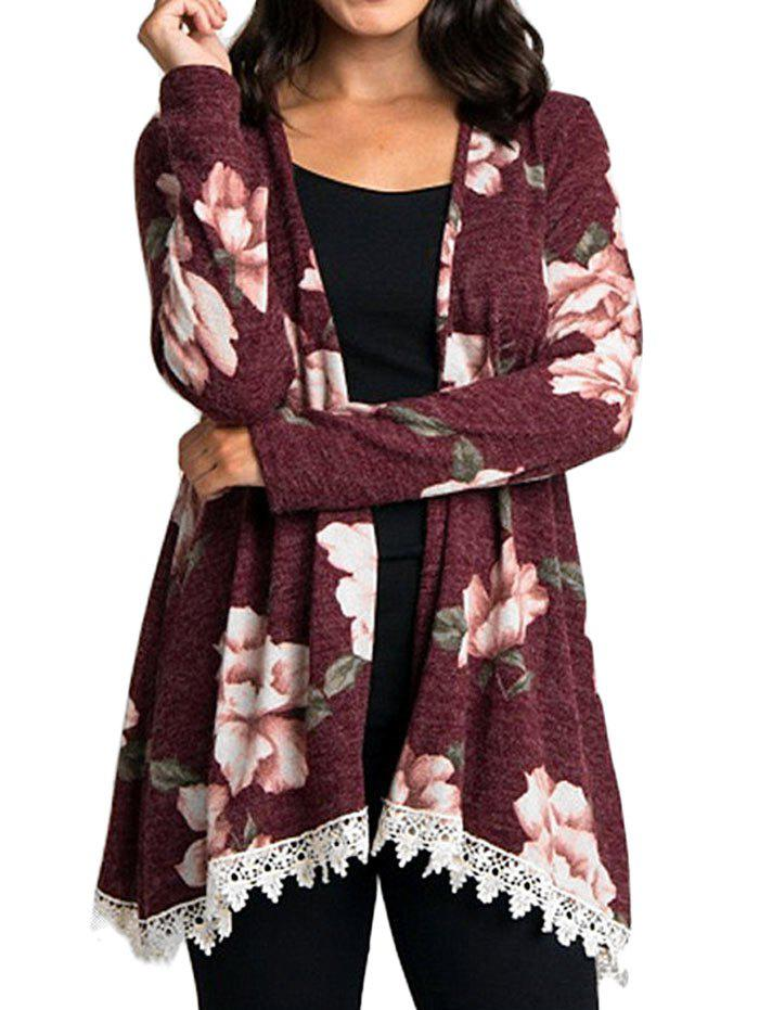 Best Floral Print Long Sleeve Panel Kimono