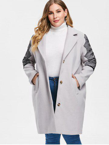 Plus Size Lace Insert Wool Coat