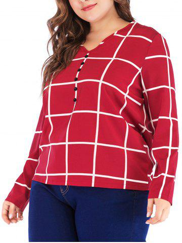 Gingham Buttons Plus Size T-shirt - LAVA RED - 1X