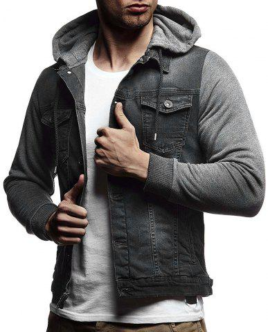 Solid Hood Sleeve Patchwork Casual Denim Jacket