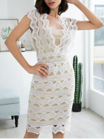 Sleeveless Zigzag Lace Bodycon Dress