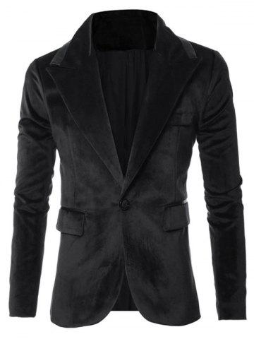 Solid One Button Pocket Velvet Blazer