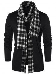 Checked Print Open Front Longline Cardigan -