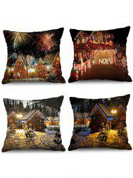 4PCS Christmas House Printed Pillow Cover -