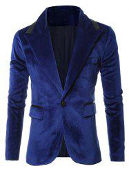 Solid One Button Pocket Velvet Blazer -