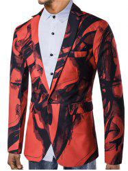 Chinese Style Ink Painting Print One Button Pocket Blazer -