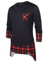 High Low Hem Checked Panel Top -