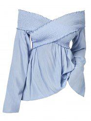 Plus Size Smocked Criss Cross Top -
