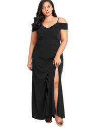 Spaghetti Strap Plus Size Maxi Dress - Noir 4X
