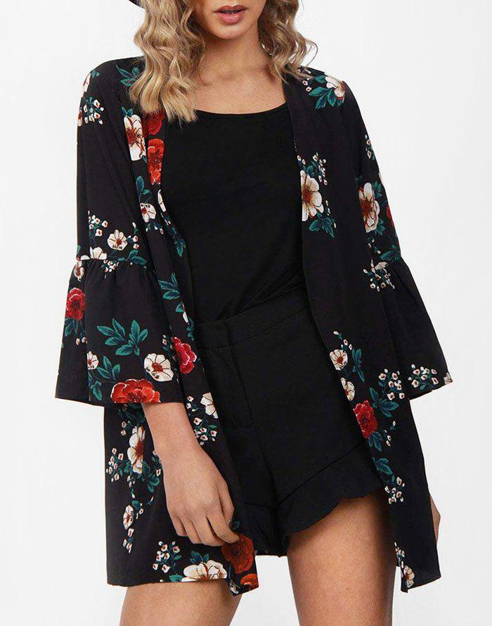 Discount Floral Print Open Front Collarless Kimono