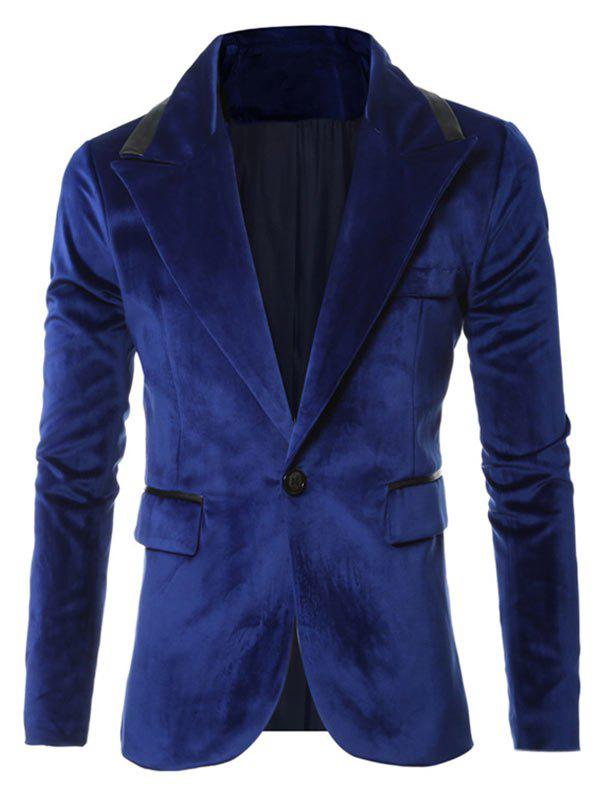 Sale Solid One Button Pocket Velvet Blazer