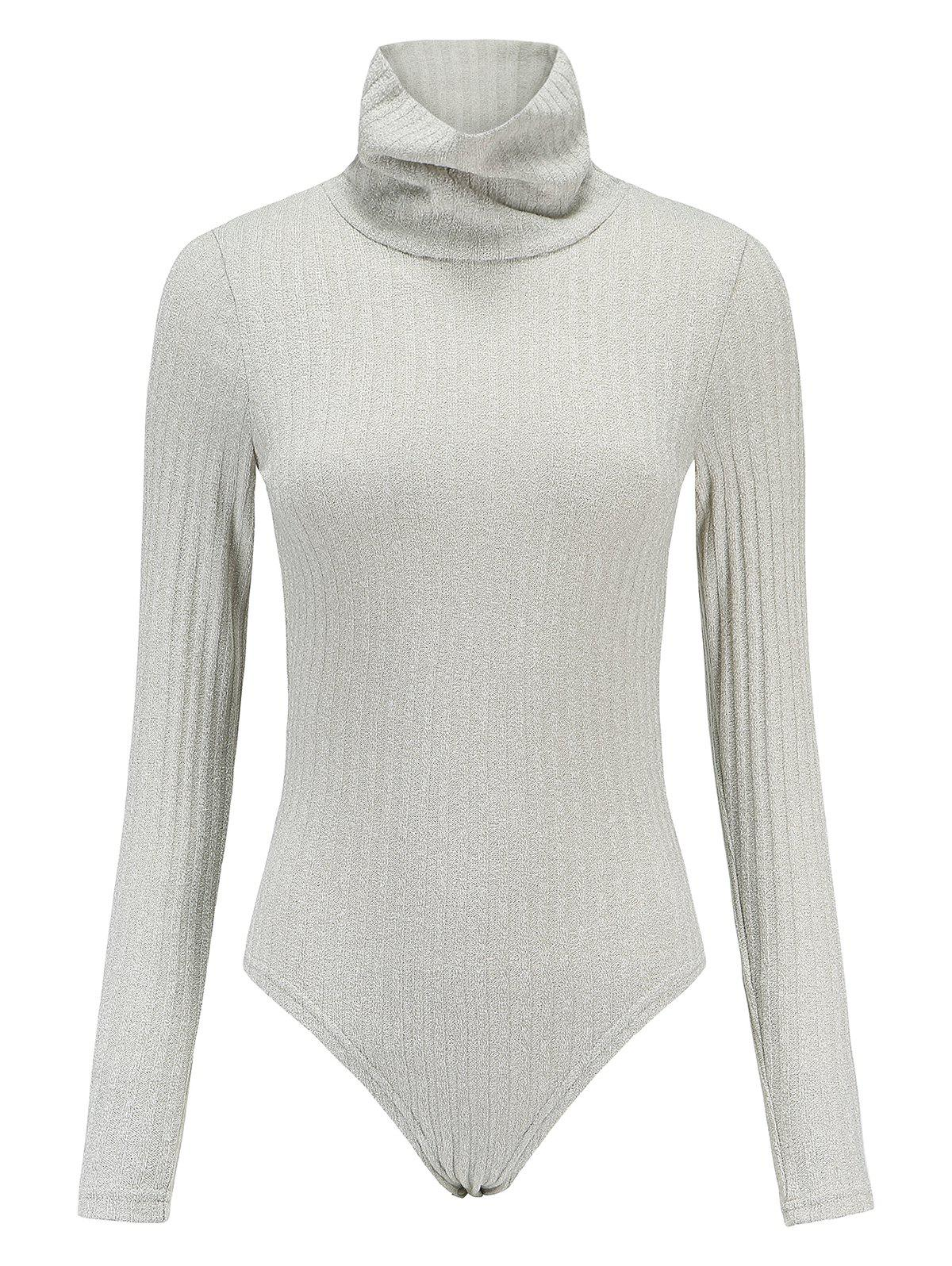 Unique High Neck Long Sleeve Knitted Bodysuit