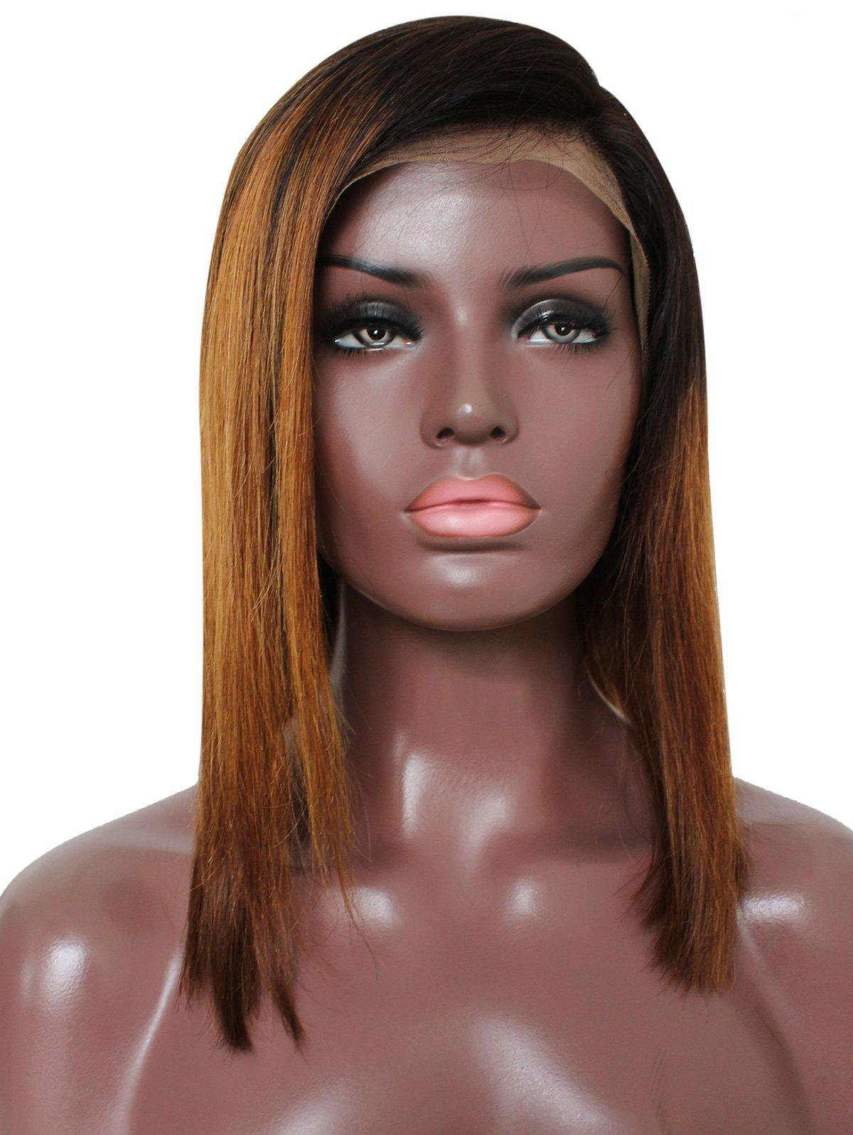 Sale Inclined Bang Colormix Straight Party Human Hair Lace Front Wig