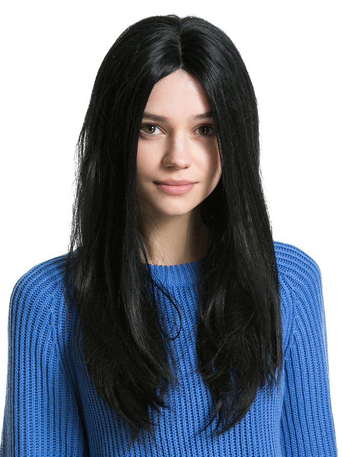 Chic Middle Part Long Capless Straight Human Hair Wig