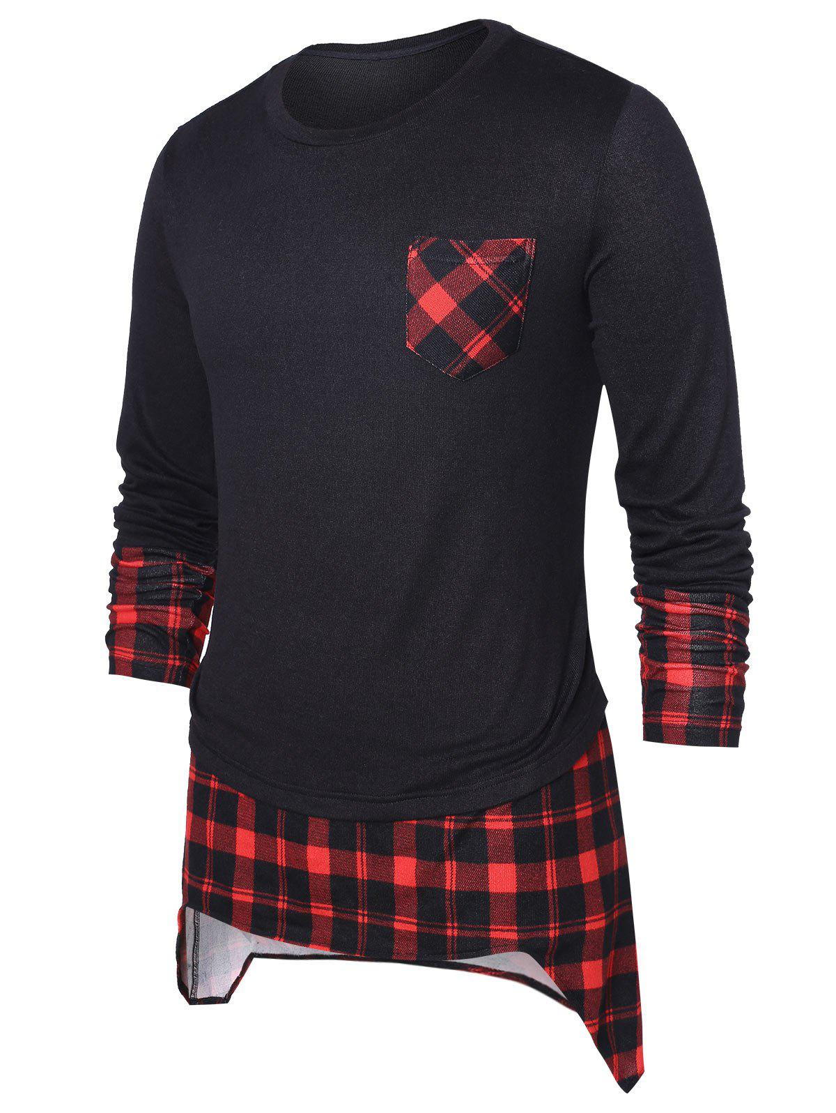 Best High Low Hem Checked Panel Top