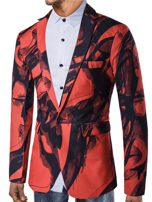 Store Chinese Style Ink Painting Print One Button Pocket Blazer